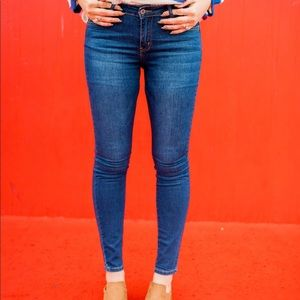 Dark Blue Mid Rise Skinnies